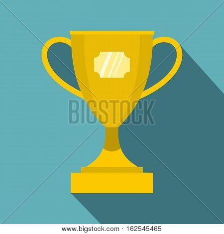 Gold winner cup icon. Flat illustration of winner cup vector icon for web isolated on baby blue background