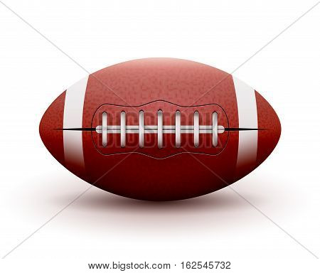 American Football ball isolated on white background. Vector illustration rugby sport game. Competition team.