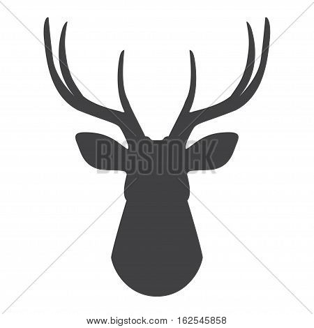 Black silhouette of deer's head on a white background. Vector illustration