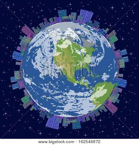 Landscape, Concept of Modern World, Planet Earth with Global Urban City with Buildings Skyscrapers in Starry Space. Elements of This Image Furnished by NASA. Eps10, Contains Transparencies. Vector