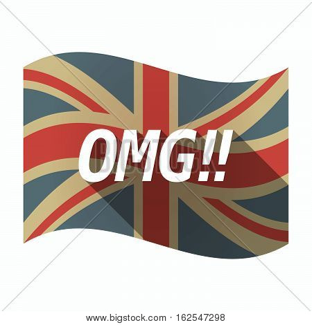Isolated Uk Flag With    The Text Omg!!