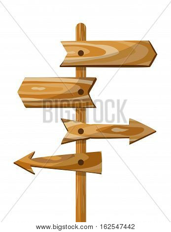 Wooden direction signpost. Vector way wood directional arrow board signs. Wooden arrow board illustration