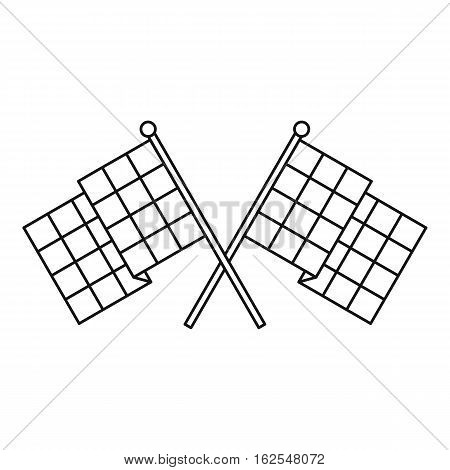 Chequered flags icon. Outline illustration of chequered flags vector icon for web