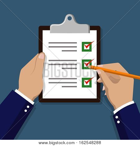 Checklist with hand. Hand check items on paper vector illustration. Checklist document holding hand