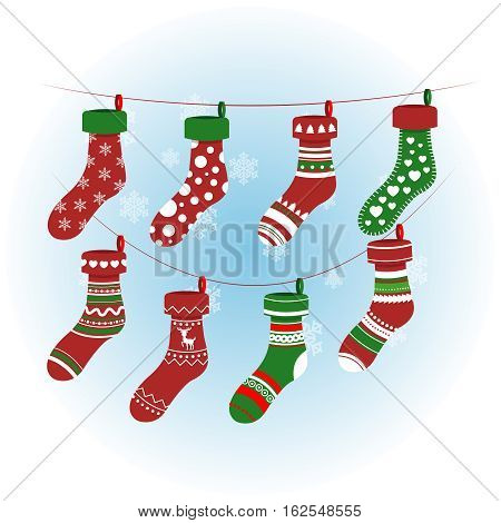 Christmas socks in red colour. Vector colorful xmas stockings with various patterns. Sock for xmas gift illustration