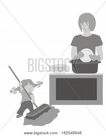 Daughter helps mum to clean up. Mother's day. vector illustration.