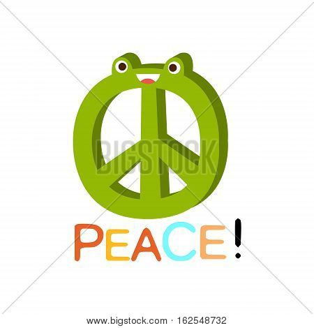 Peace Word And Corresponding Illustration, Cartoon Character Emoji With Eyes Illustrating The Text. Primitive Symbol Emoticon For Messages Flat Vector Icon.