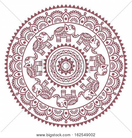 Round Mehndi, Indian Henna brown tattoo pattern