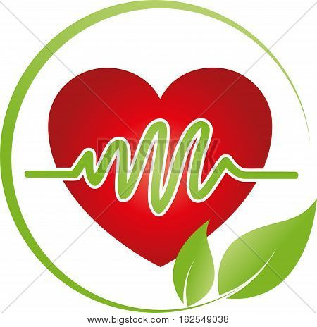 Heart and leaves, cardiology and heart logo