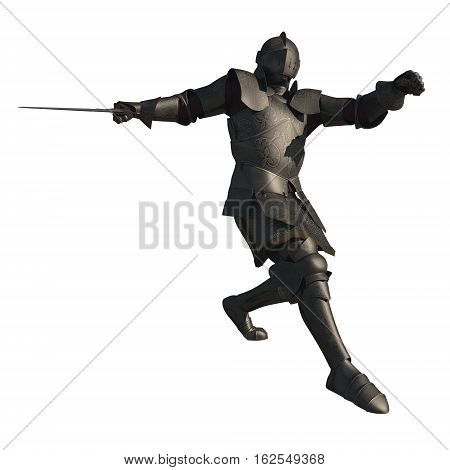 Illustration of a late Medieval knight with decorated armour in a fighting pose, digital illustration (3d rendering)