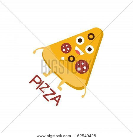 Pizza Slice Word And Corresponding Illustration, Cartoon Character Emoji With Eyes Illustrating The Text. Primitive Symbol Emoticon For Messages Flat Vector Icon.