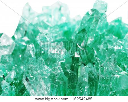 aquamarine quartz semigem geode crystals geological mineral isolated poster