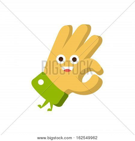 Ok Gesture, Word And Corresponding Illustration, Cartoon Character Emoji With Eyes Illustrating The Text ure. Primitive Symbol Emoticon For Messages Flat Vector Icon.