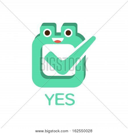 Yes Vote And Box, Word And Corresponding Illustration, Cartoon Character Emoji With Eyes Illustrating The Text. Primitive Symbol Emoticon For Messages Flat Vector Icon.