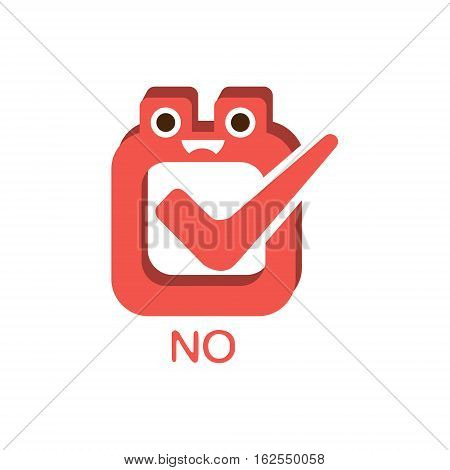 No Vote And Box, Word And Corresponding Illustration, Cartoon Character Emoji With Eyes Illustrating The Text. Primitive Symbol Emoticon For Messages Flat Vector Icon.