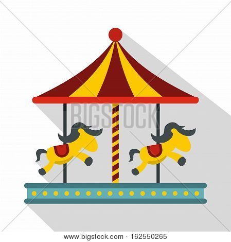 Children carousel with colorful horses icon. Flat illustration of children carousel with colorful horses vector icon for web isolated on white background