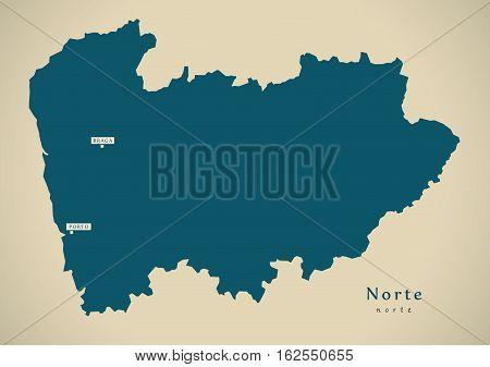 Modern Map - Norte Portugal Pt Illustration