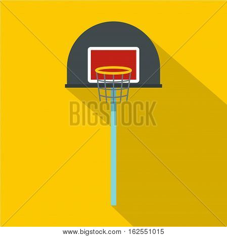 Basketball hoop icon. Flat illustration of basketball hoop vector icon for web isolated on yellow background