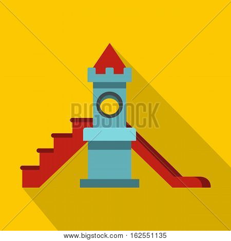Colorful playground slide icon. Flat illustration of colorful playground slide vector icon for web isolated on yellow background