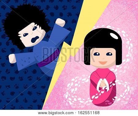 Japanese dolls with positive and negative emotions vector illustration. Kokeshi doll hand-drawn image. Emotional intelligence concept picture. Anger vs good feeling. Wrath and kindness. Emotional girl