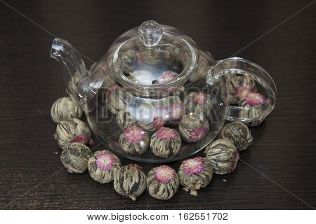 Chinese Green Tea In A Transparent Teapot.
