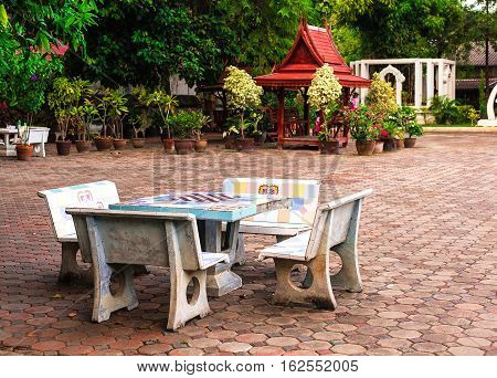 Chess, Checker-board Table And Benches In Public Park