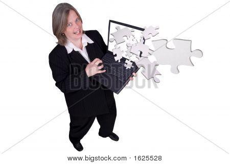 Businesswoman Holding A Laptop