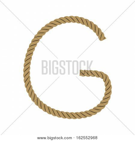 Letter G Made From Rope Isolated On White 3D Illustration