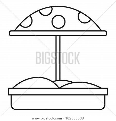 Sandbox with umbrella icon. Outline illustration of sandbox with umbrella vector icon for web