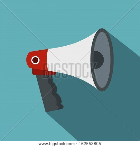 Red and white bullhorn public megaphone icon. Flat illustration of red and white bullhorn public megaphone vector icon for web isolated on baby blue background