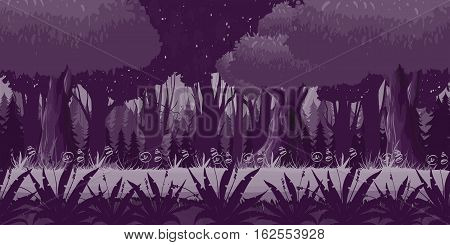 Game Seamless Horizontal Forest Background for side scrolling 2D games, action, adventure, hack and slash for PC computers, mobile apps and browsers, illustration for your design