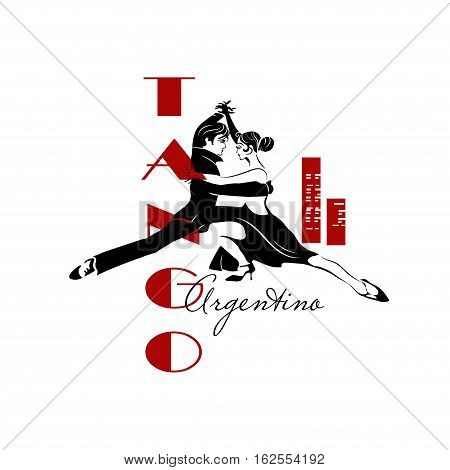 Passionate sensual couple dancing tango. Argentine Tango - isolated image