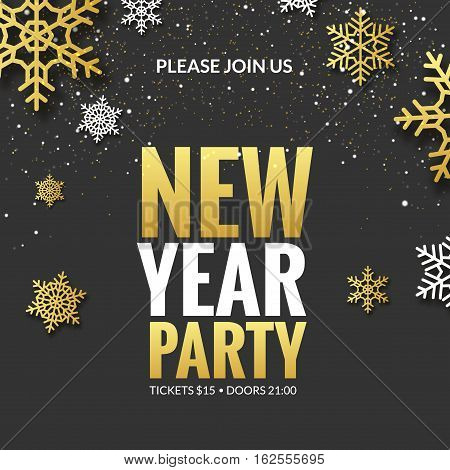 New Year party invitation poster design. Retro gold typography and ornament decoration illustration. Xmas holiday flyer or poster design template.