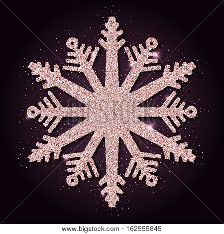 Pink Golden Glitter Wondrous Snowflake. Luxurious Christmas Design Element, Vector Illustration.