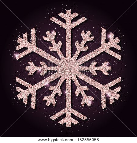 Pink Golden Glitter Mesmeric Snowflake. Luxurious Christmas Design Element, Vector Illustration.