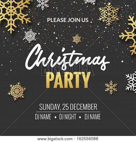 Christmas party invitation poster design. Retro gold typography and ornament decoration illustration. Xmas holiday flyer or poster design template.