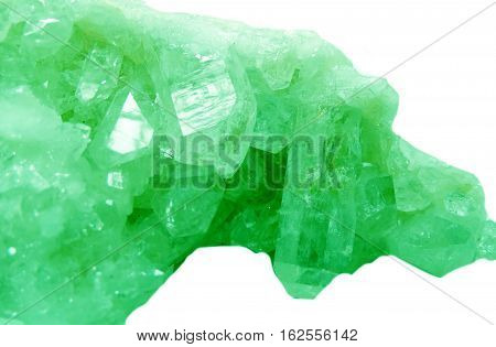 emerald semigem geode crystals geological mineral isolated