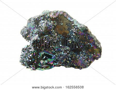 titan aura quartz semigem geode crystals geological mineral isolated