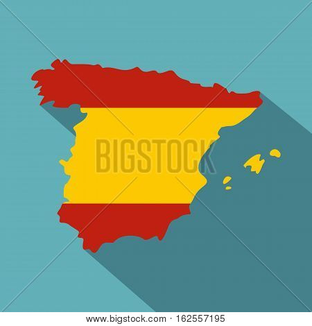 Map of Spain icon. Flat illustration of map of Spain vector icon for web