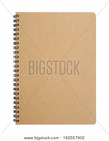Recycled paper notebook front cover clipping path.