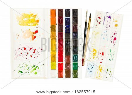 Artistic Watercolor Paint And Brush In Plastic Box With Palette