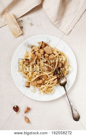 Cooked Pasta With Porcini On The White Plate