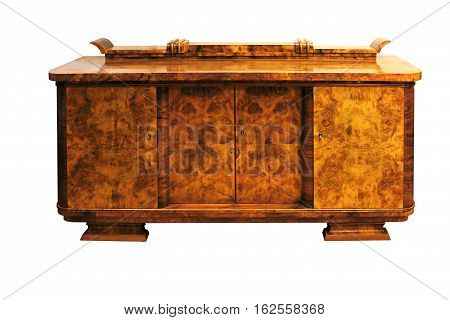 Old Art Deco antique cupboard, walnut isolated on white.