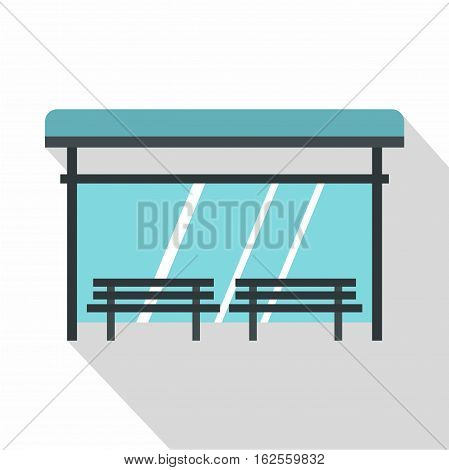 Bus stop icon. Flat illustration of bus stop vector icon for web
