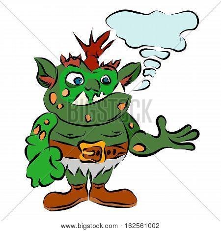 funny green troll vector goblin cartoon illustration