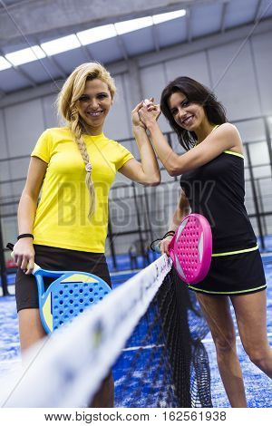 Handshake Of Paddle Tennis Players.