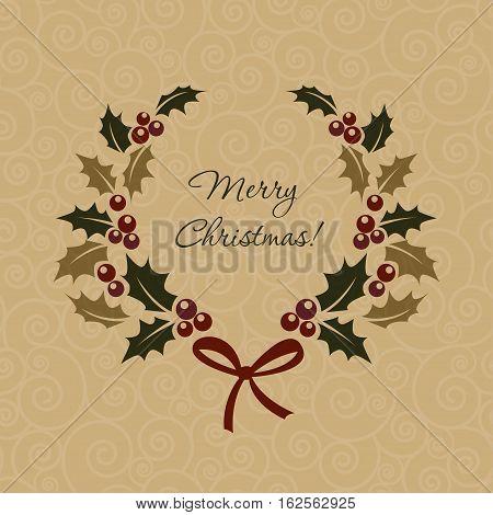 Christmas ilex wreath in vitage style. Vector illustration