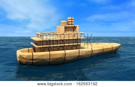 ship in the vast ocean with small waves is getting all the sails filled with sea breeze 3d rendering
