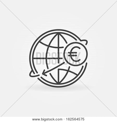 International money transfer outline icon. Vector Euro money online transfer sign or logo element in thin line style