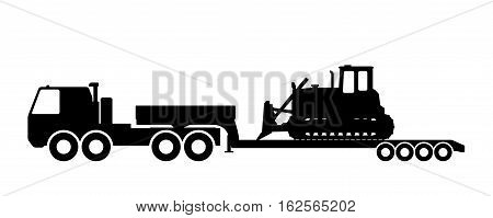 Silhouette of the tractor on the trawl. Vector illustration.